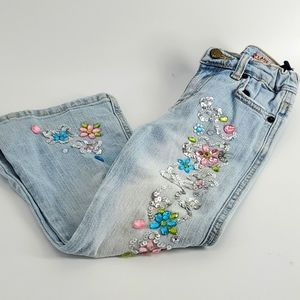 Childrens Place girls flare jeweled jeans